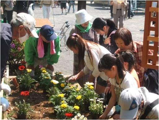みんなで花を植えよう、花の種をまこう